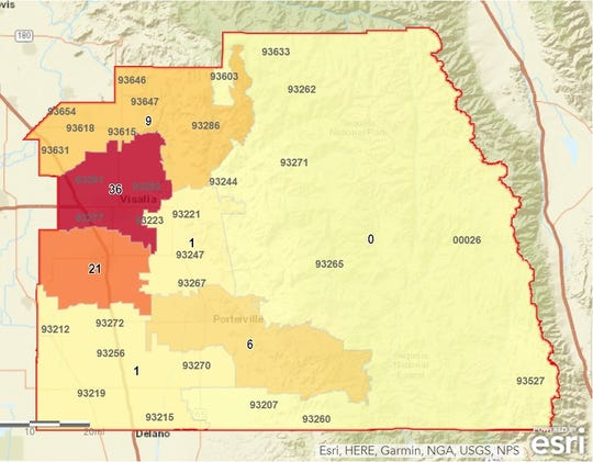 A map of where positive COVID-19 cases have been identified in Tulare County as of Thursday evening.