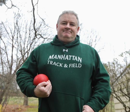 """Patrick """"Paddy"""" McGrath a track & field throwing coach at Manhattan College, photographed at his Briarcliff Manor home on Friday, April 3, 2020."""