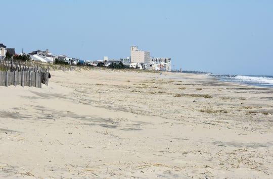 Empty sand at Dewey Beach due the closures caused by the COVID-19 pandemic.