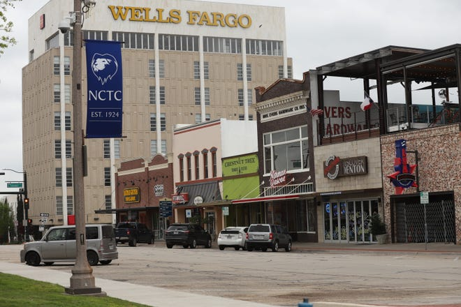 Downtown Denton, TX is shown on April 2, 2020.