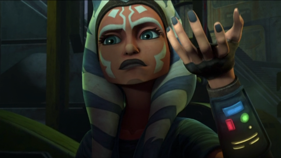 Ahsoka uses the force, but tries not to reveal her training.