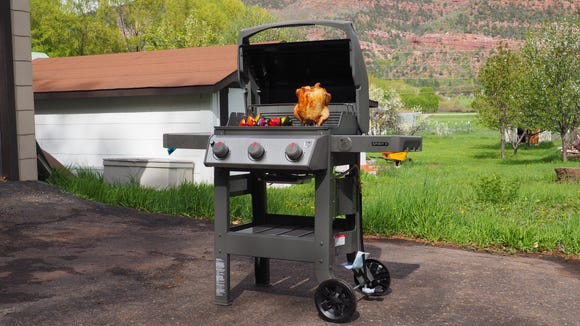 Grill up burgers, chicken, and veggies in one swoop.