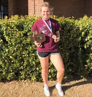 Hawley senior K'Lynn O'Shields won the 165-pound weight class at the 2019 powerlifting state meet. O'Shields was unable to defend her state title this year due to the coronavirus pandemic. She will attend Tarleton State in the fall.
