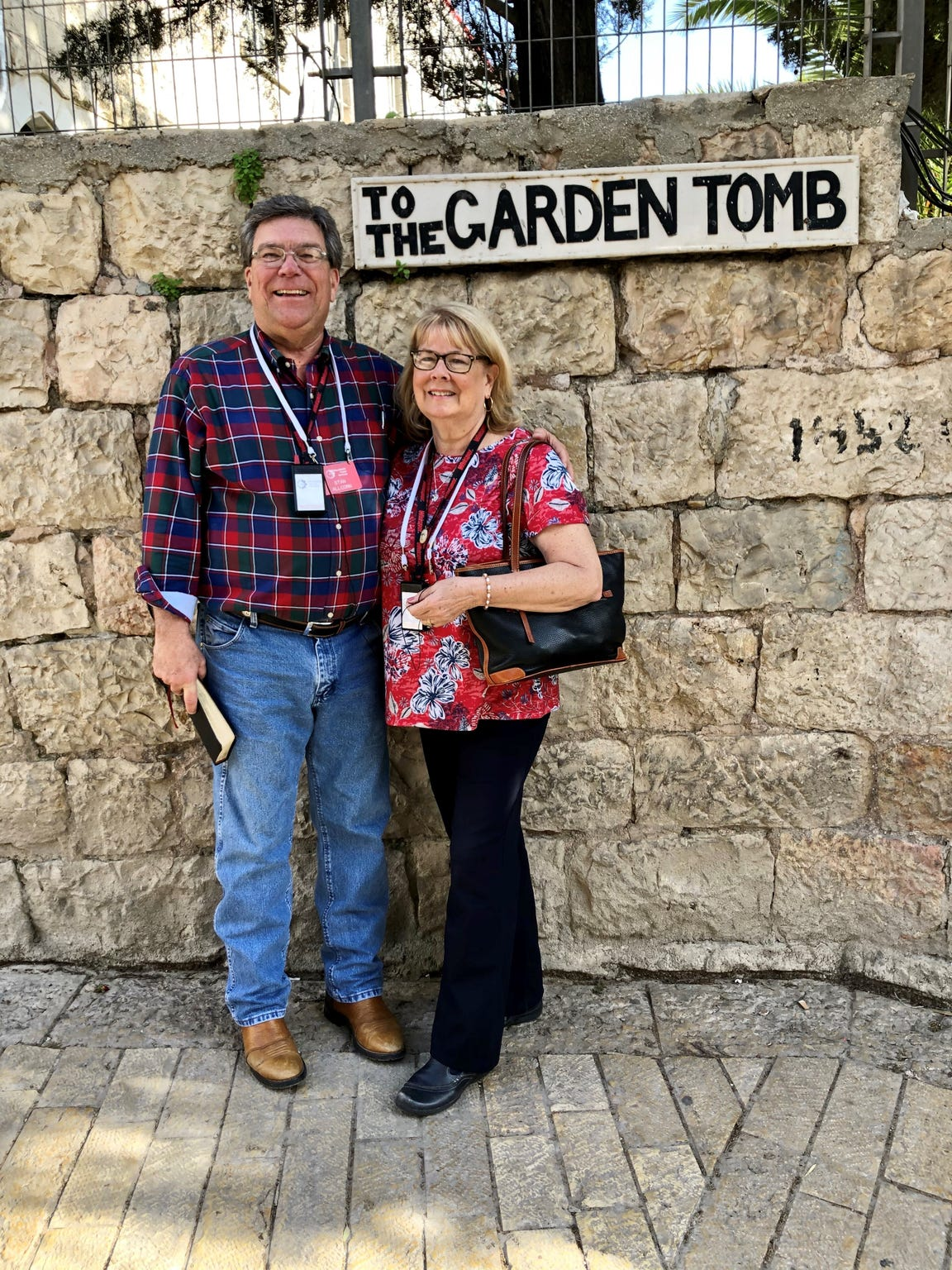 Stan and Claudia Allcorn in Israel this spring. He has been to the Holy Land five times.