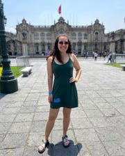 Kacie Brandenburg and a group of 15 Americans were evacuated from Peru by military medical jet Friday, April 3, 2020.