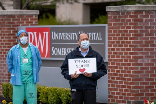 Healthcare Workers at Robert Wood Johnson University Hospital Somerset received a 'Heroes Procession of Thanks' from hundreds of cars in Somerset Friday.