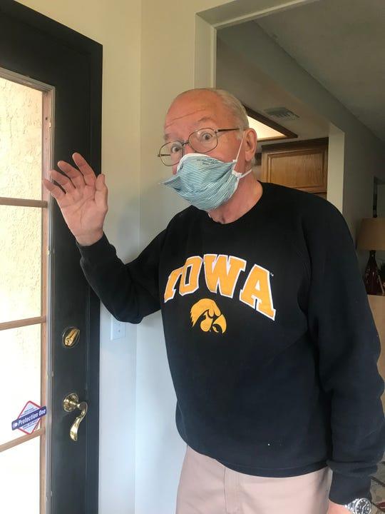 Mick Rood in Riverside, Calif., pretending he's an Iowa fan. (He's a Cornhusker.)