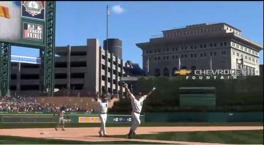 Virtual Jake Rogers, right, celebrates his walk-off home run, as the Detroit Free Press streams a Detroit Tigers game of MLB The Show 20 on Twitch. Follow us: https://www.twitch.tv/freepsports