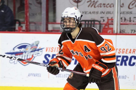 Compuware winger Gavin Hayes was selected 16th overall by the Flint Firebirds in the first round of the OHL draft on Saturday. (Tim Cornett/OHL Images)