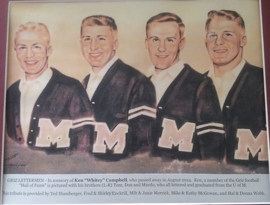"""This portrait of the four Campbell brothers was created in memory of Ken """"Whitey"""" Campbell (far left), who passed on August, 2014. The brothers were (left to right): Ken, Tom, Don and Murdo, who died on St. Patrick's Day in Helena."""