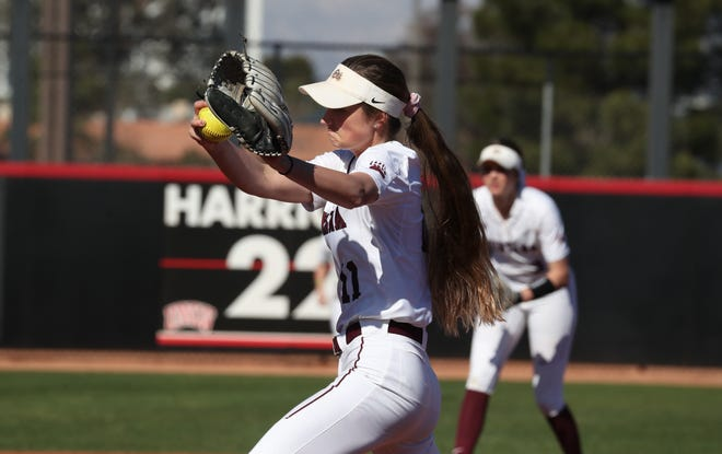 Former Choteau/Conrad and C.M. Russell standout Tristin Achenbach gets ready to unleash an unhittable pitch in the circle during Montana Lady Griz action before the season was cancelled by the NCAA because of the COVID-19 pandemic.