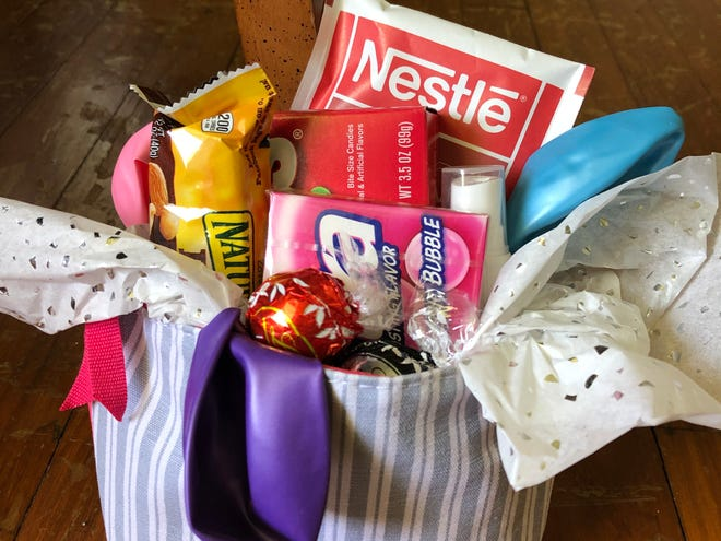 Makeshift Easter baskets can be made out of things like a makeup bag and filled with what you have in the pantry.