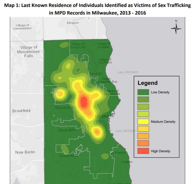 This heat map shows the last known residence of victims of sex trafficking in Milwaukee.