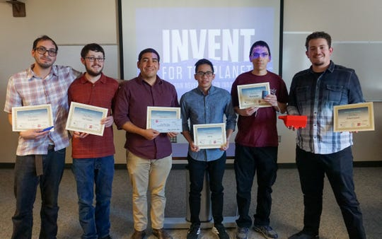 New Mexico State University's Crustacean design team has been invited to attend the final judging competition of Invent For The Planet 2020 at Texas A&M University. Team members include (from left) Evan Hughes, Taw Trobaugh, Roberto Holguin, Erik Le, Brian Evan Saunders and Richard Cazares.