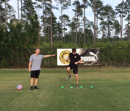 Perdido Bay Futbol Club coaches walk through drills for their online training courses. The club is taking unique measures to train athletes during the coronavirus pandemic in 2020.
