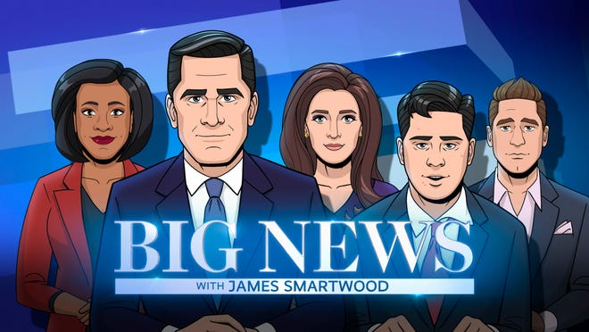 "Political Analyst, Tory Hughes;  Anchor, James Smartwood; Political Analyst, Nicole Vance; Chief Correspondent, James Smartwood, Jr.; Political Analyst, Austin Sparks; of the CBS All Access series ""Tooning Out the News."""