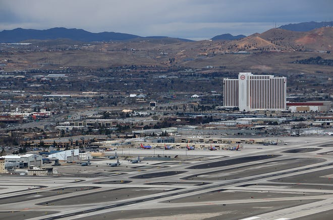 The Reno-Tahoe International Airport is seen on April 4, 2020.