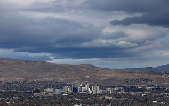 Storm clouds are seen over Reno on April 4, 2020.
