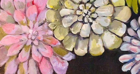 An acrylic painting of succulents, the theme of U-Prep art teacher Lura Wilhelm's paint night, online most Saturdays.