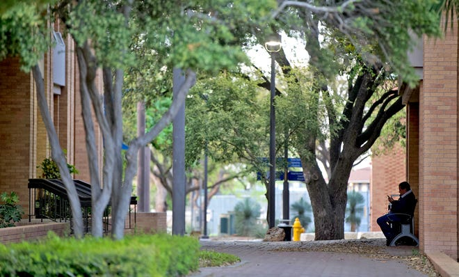 Parts of the Angelo State University campus, seen in this Thursday, April 2, 2020 photo, sit largely empty after many students left due to concerns about the coronavirus.