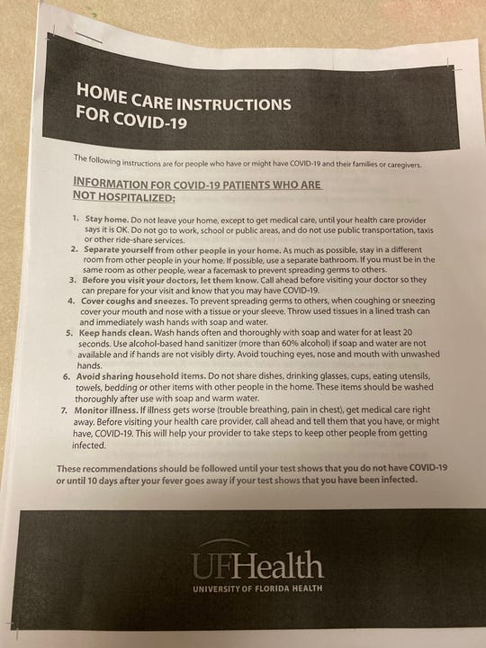 The pamphlet Irish Porter says health officials gave her and her family when she tested positive for coronavirus.