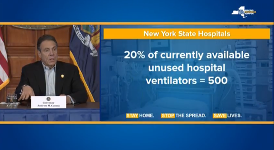 Gov. Andrew Cuomo said April 4, 2020, that he will secure 500 ventilators being unused at health-care facilities across the state, as well as securing 1,000 from China.