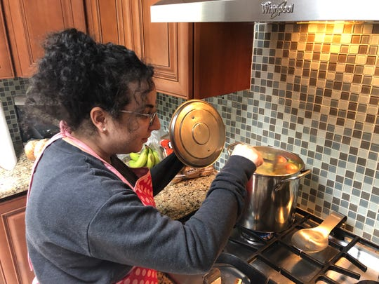 Julie Devlin makes chicken soup  for Passover this year.  She and her husband will be celebrating the Jewish holiday at their home for the first time ever because they're required to stay home during the coronavirus pandemic. They  will join a virtual Seder with Devlin's family.
