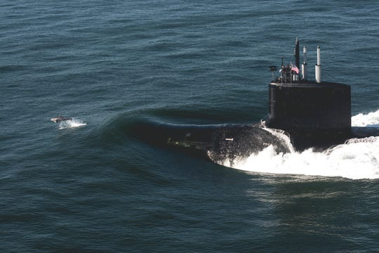 The Virginia-class attack submarine USS Delaware (SSN 791) transits the Atlantic Ocean after departing Huntington Ingalls Industries Newport News Shipbuilding division during sea trials in August 2019.