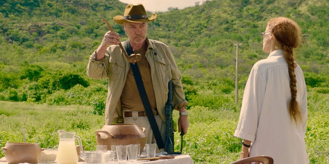 """Udo Kier (with Sonia Braga) stars as the leader of a group of armed mercenaries that come to a small Brazilian village in """"Bacurau."""""""