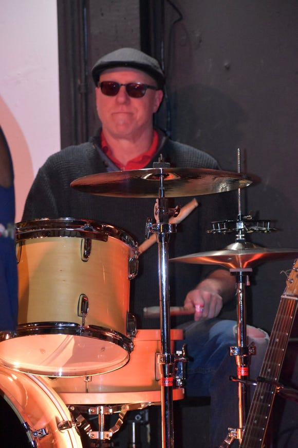 Tim Tubbs Hoffman behind the kit at a recent Joe Faker Monday Jam on stage at H.D.'s Pub in Belfair.