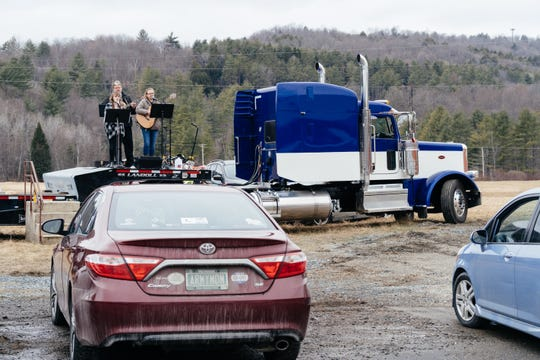 Six local churches host a drive-in church service at an industrial park in Randolph, Vermont, for Palm Sunday on April 5, 2020.