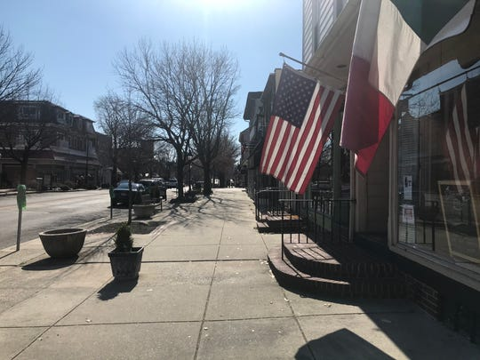 A view of empty  Kings Highway and its stores in the Colonial downtown of Haddonfield during the statewide stay-at-home order prompted by the coronavirus pandemic.