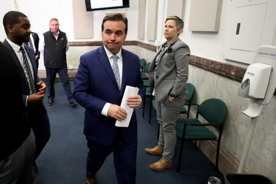 Cincinnati Mayor John Cranley walks out of a press conference after he declared a state of emergency throughout the city in response to the new coronavirus pandemic, Wednesday, March 11, 2020, at City Hall in Cincinnati.