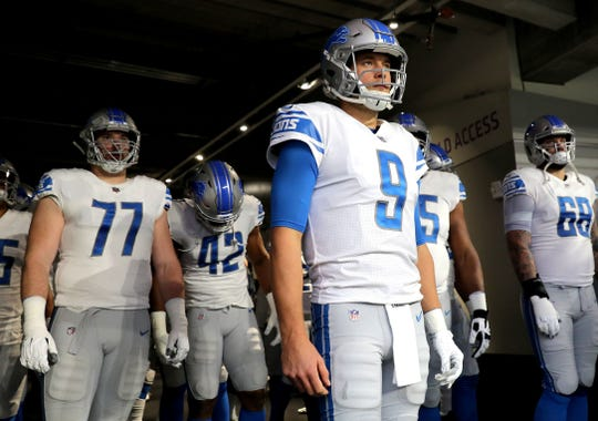 Lions QB Matthew Stafford stands in the the tunnel before the game against the Minnesota Vikings at U.S. Bank Stadium on Nov. 4, 2018, in Minneapolis.