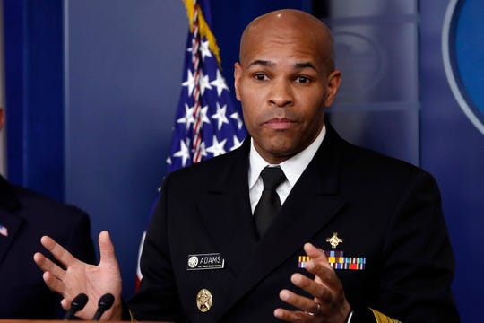 U.S. Surgeon General Jerome Adams speaks about the coronavirus in the James Brady Press Briefing Room of the White House, Friday, April 3, 2020, in Washington. (AP Photo/Alex Brandon)