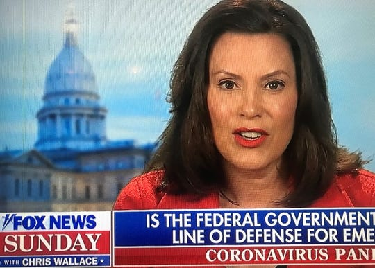 "Michigan Gov. Gretchen Whitmer appears on ""Fox News Sunday"" on Sunday, April 5, 2020."
