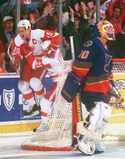 Steve Yzerman beats the Blues in Game 7 in 1996 with a double-overtime goal.