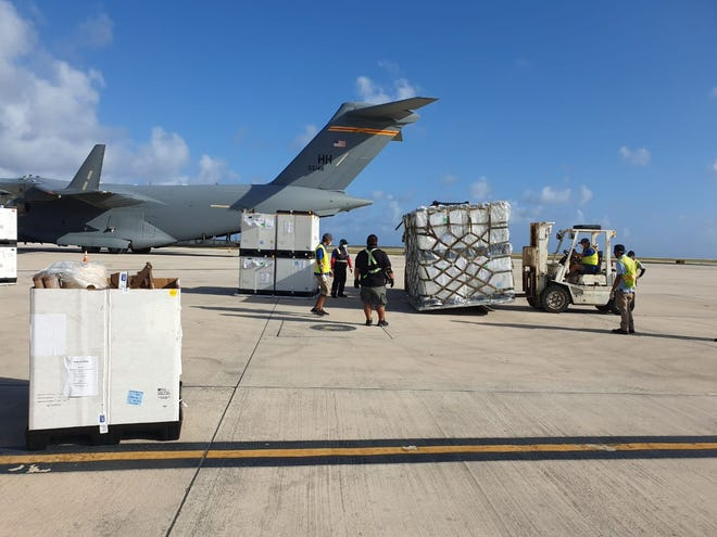Critical medical supplies arrive in the CNMI from the Department of Health and Human Services and the Department of Defense In this file photo from April 4, 2020.
