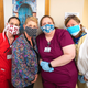 University of Mississippi Medical Center ophthalmic technologist Emily Smith, from left, ophthalmic surgery tech Leigh Kelly, ophthalmic tech Chynna Martin and registered nurse Heidi Johnson wear handmade masks. The Mississippi Department of Health is recommending that all health care workers wear masks during their work day, even if they have no patient contact. Consequently, UMMC is asking the public to help contribute masks.