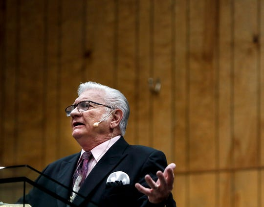Maryville Baptist's pastor, Jack Roberts, preaches to an in-house congregation on April, 5, 2020. Around 50 people gathered for the service despite Gov. Andy Beshear against in-person services during the coronavirus pandemic.
