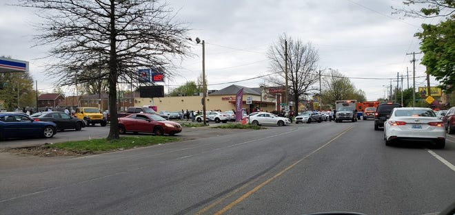 A large police presence was called to the 3500 block of Broadway on Sunday in Louisville due to a fight, according to MetroSafe. April 5, 2020