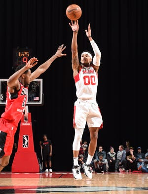 Bryce Brown (00) of the Maine Red Claws shoots against Windy City Bulls at the Sears Centre on November 29, 2019 in Hoffman Estates, Illinois.