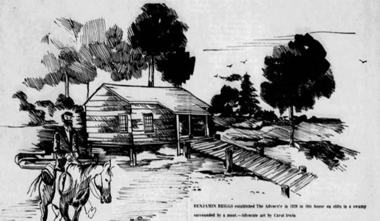 A drawing of Benjamin Briggs and the log cabin purported to be the starting place of The Advocate.