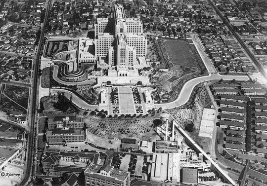 """Los Angeles County General Hospital, a WPA project, called """"the Great Stone Mother"""" is an impressive art deco, 18 story building."""