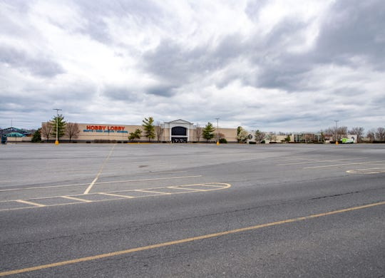 Not a single car was in the Lebanon Valley Mall parking lot, Saturday, April 4, 2020, a few weeks after it was closed due to the COVID-19 pandemic.