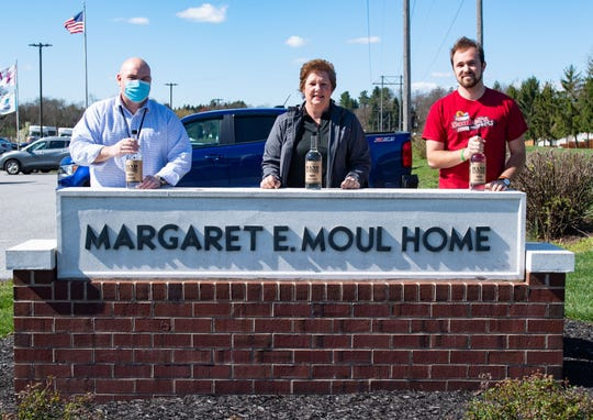 (Left to right) Margaret E. Moul Home CEO Joe Lubas, Betti  Saubel and her son Adam pose for a photo, April 2, 2020.