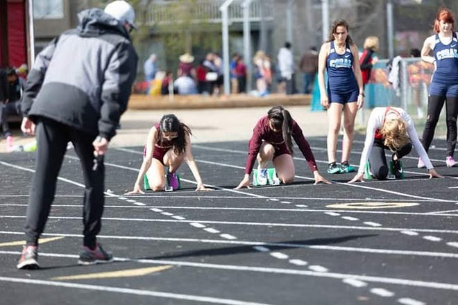 Susy Mesa, on far left, runs in a track meet for Sparks High, during her junior year. This year's season was cut short as schools stay closed amid the coronavirus pandemic.