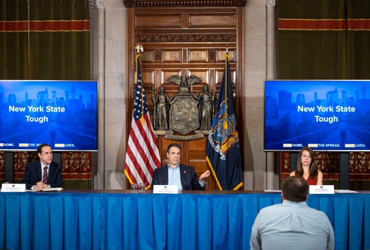 April 5, 2020 - Albany, NY - Governor Andrew M. Cuomo provides a coronavirus update during a press conference in the Red Room at the State Capitol.