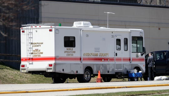 A Sheboygan County mobile operations center was at Sunny Ridge, Sunday, April 5, 2020, in Sheboygan, Wis., The county and the National Guard is helping with a staffing shortage caused by several staff members coming down with COVID-19 virus.  The home was the scene of the first COVID-19 death in the county and several staff members have come down with the potentially fatal virus.