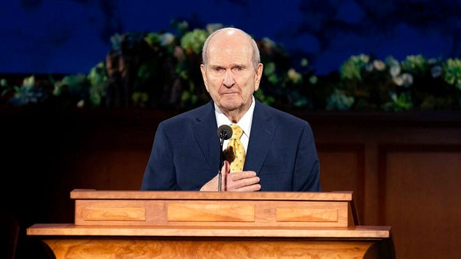In this photograph provided by The Church of Jesus Christ of Latter-day Saints shows President Russell M. Nelson speaking during The Church of Jesus Christ of Latter-day Saints' twice-annual church conference Saturday, April 4, 2020, in Salt Lake City.